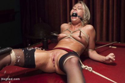 Photo number 13 from Hot Blonde with Petite Pussy Bound and Banged in Pool Hall shot for Hogtied on Kink.com. Featuring Zoey Monroe in hardcore BDSM & Fetish porn.