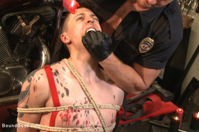 """Photo number 5 from Officer Maguire """"I smell fear"""" shot for Bound Gods on Kink.com. Featuring Connor Maguire and Tyler Rush in hardcore BDSM & Fetish porn."""