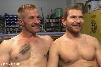 Photo number 15 from Cocky businessman bound and fucked in the metal shop shot for Bound Gods on Kink.com. Featuring Alex Adams and Adam Herst in hardcore BDSM & Fetish porn.