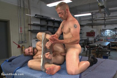 Photo number 13 from Cocky businessman bound and fucked in the metal shop shot for Bound Gods on Kink.com. Featuring Alex Adams and Adam Herst in hardcore BDSM & Fetish porn.