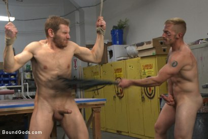 Photo number 9 from Cocky businessman bound and fucked in the metal shop shot for Bound Gods on Kink.com. Featuring Alex Adams and Adam Herst in hardcore BDSM & Fetish porn.