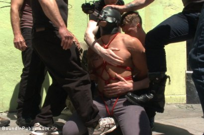Photo number 3 from Muscled whore gets publicly fucked and doused with cum  shot for Bound in Public on Kink.com. Featuring Jessie Colter, Brock Avery and Seven Dixon in hardcore BDSM & Fetish porn.
