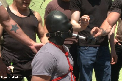 Photo number 2 from Muscled whore gets publicly fucked and doused with cum  shot for Bound in Public on Kink.com. Featuring Jessie Colter, Brock Avery and Seven Dixon in hardcore BDSM & Fetish porn.