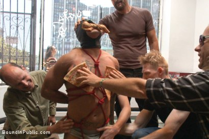 Photo number 6 from Muscled whore gets publicly fucked and doused with cum  shot for Bound in Public on Kink.com. Featuring Jessie Colter, Brock Avery and Seven Dixon in hardcore BDSM & Fetish porn.