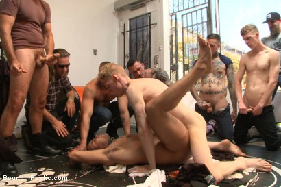 Photo number 13 from Muscled whore gets publicly fucked and doused with cum  shot for Bound in Public on Kink.com. Featuring Jessie Colter, Brock Avery and Seven Dixon in hardcore BDSM & Fetish porn.