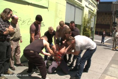 Photo number 4 from Muscled whore gets publicly fucked and doused with cum  shot for Bound in Public on Kink.com. Featuring Jessie Colter, Brock Avery and Seven Dixon in hardcore BDSM & Fetish porn.