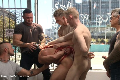 Photo number 11 from Muscled whore gets publicly fucked and doused with cum  shot for Bound in Public on Kink.com. Featuring Jessie Colter, Brock Avery and Seven Dixon in hardcore BDSM & Fetish porn.