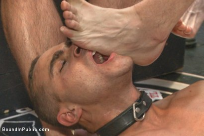 Photo number 13 from Ripped, muscled stud gang fucked by horny dudes & smothered with feet  shot for Bound in Public on Kink.com. Featuring Jessie Colter and Brock Avery in hardcore BDSM & Fetish porn.