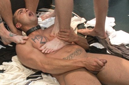 Photo number 12 from Ripped, muscled stud gang fucked by horny dudes & smothered with feet  shot for Bound in Public on Kink.com. Featuring Jessie Colter and Brock Avery in hardcore BDSM & Fetish porn.