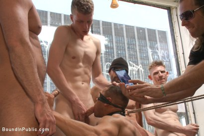 Photo number 11 from Ripped, muscled stud gang fucked by horny dudes & smothered with feet  shot for Bound in Public on Kink.com. Featuring Jessie Colter and Brock Avery in hardcore BDSM & Fetish porn.