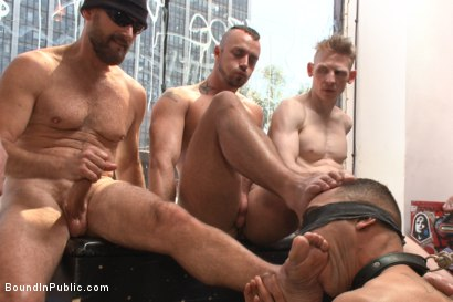 Photo number 2 from Ripped, muscled stud gang fucked by horny dudes & smothered with feet  shot for Bound in Public on Kink.com. Featuring Jessie Colter and Brock Avery in hardcore BDSM & Fetish porn.