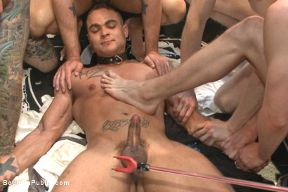 Photo number 14 from Ripped, muscled stud gang fucked by horny dudes & smothered with feet  shot for Bound in Public on Kink.com. Featuring Jessie Colter and Brock Avery in hardcore BDSM & Fetish porn.