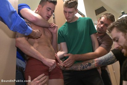 Photo number 1 from Cruising for a Gangbang  shot for Bound in Public on Kink.com. Featuring Jimmy Bullet, Leo Sweetwood and Trenton Ducati in hardcore BDSM & Fetish porn.