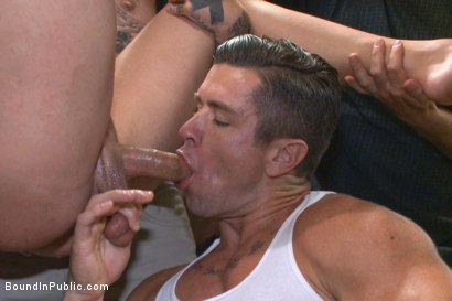Photo number 8 from Cruising for a Gangbang  shot for Bound in Public on Kink.com. Featuring Jimmy Bullet, Leo Sweetwood and Trenton Ducati in hardcore BDSM & Fetish porn.
