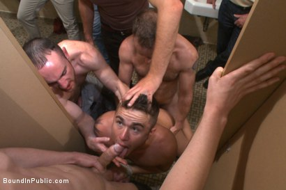Photo number 5 from Cruising for a Gangbang  shot for Bound in Public on Kink.com. Featuring Jimmy Bullet, Leo Sweetwood and Trenton Ducati in hardcore BDSM & Fetish porn.