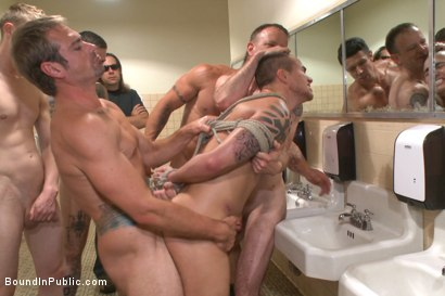 Photo number 6 from Bathroom whore stuffed full of cock and covered in cum shot for Bound in Public on Kink.com. Featuring Jimmy Bullet, Leo Sweetwood and Trenton Ducati in hardcore BDSM & Fetish porn.