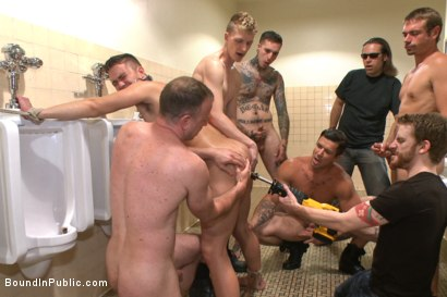 Photo number 9 from Bathroom whore stuffed full of cock and covered in cum shot for Bound in Public on Kink.com. Featuring Jimmy Bullet, Leo Sweetwood and Trenton Ducati in hardcore BDSM & Fetish porn.