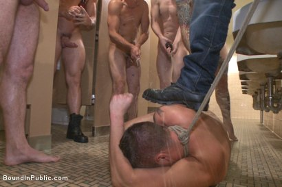 Photo number 13 from Bathroom whore stuffed full of cock and covered in cum shot for Bound in Public on Kink.com. Featuring Jimmy Bullet, Leo Sweetwood and Trenton Ducati in hardcore BDSM & Fetish porn.