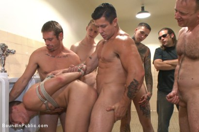 Photo number 4 from Bathroom whore stuffed full of cock and covered in cum shot for Bound in Public on Kink.com. Featuring Jimmy Bullet, Leo Sweetwood and Trenton Ducati in hardcore BDSM & Fetish porn.