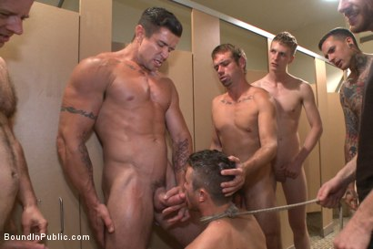 Photo number 11 from Bathroom whore stuffed full of cock and covered in cum shot for Bound in Public on Kink.com. Featuring Jimmy Bullet, Leo Sweetwood and Trenton Ducati in hardcore BDSM & Fetish porn.
