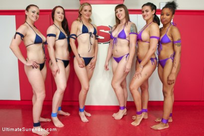 Photo number 15 from Team Queen vs. Team Wrangler 2nd match up of the season shot for Ultimate Surrender on Kink.com. Featuring Bella Rossi, Penny Barber, Sasha Banks, Mona Wales, Cheyenne Jewel and Mistress Kara in hardcore BDSM & Fetish porn.