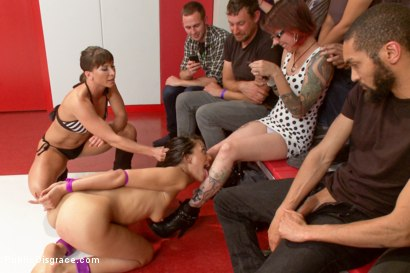Photo number 2 from Loser Humiliated by the audience for  SUCKING so bad shot for Public Disgrace on Kink.com. Featuring Rilynn Rae, Lyla Storm, Mickey Mod and Ariel X in hardcore BDSM & Fetish porn.