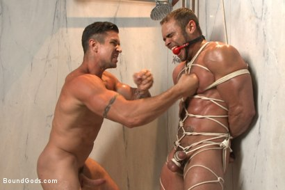 Photo number 9 from The Creepy Handyman Torments The Gym Stud shot for Bound Gods on Kink.com. Featuring Trenton Ducati and Brock Avery in hardcore BDSM & Fetish porn.
