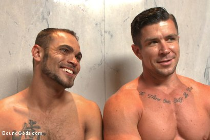 Photo number 15 from The Creepy Handyman Torments The Gym Stud shot for Bound Gods on Kink.com. Featuring Trenton Ducati and Brock Avery in hardcore BDSM & Fetish porn.