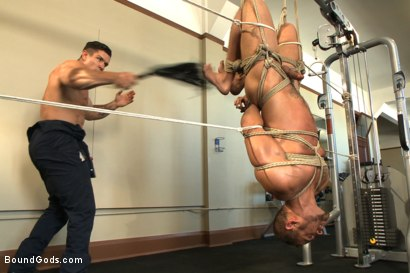 Photo number 8 from The Creepy Handyman Torments The Gym Stud shot for Bound Gods on Kink.com. Featuring Trenton Ducati and Brock Avery in hardcore BDSM & Fetish porn.