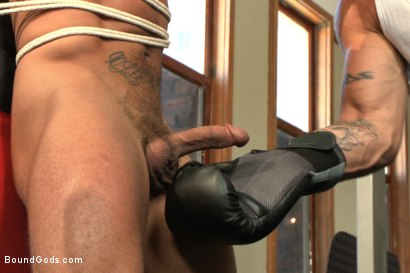 Photo number 3 from The Creepy Handyman Torments The Gym Stud shot for Bound Gods on Kink.com. Featuring Trenton Ducati and Brock Avery in hardcore BDSM & Fetish porn.