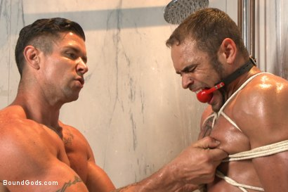 Photo number 10 from The Creepy Handyman Torments The Gym Stud shot for Bound Gods on Kink.com. Featuring Trenton Ducati and Brock Avery in hardcore BDSM & Fetish porn.