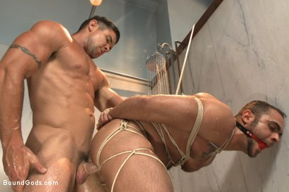 Photo number 12 from The Creepy Handyman Torments The Gym Stud shot for Bound Gods on Kink.com. Featuring Trenton Ducati and Brock Avery in hardcore BDSM & Fetish porn.