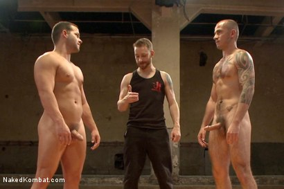 "Photo number 15 from Cam ""The Cannon"" Christou vs Luke ""The Atom Bomb"" Adams shot for Naked Kombat on Kink.com. Featuring Luke Adams and Cam Christou in hardcore BDSM & Fetish porn."