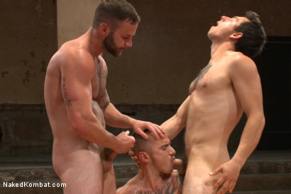 "Photo number 12 from Cam ""The Cannon"" Christou vs Chris ""Mr. Badass"" Bines shot for Naked Kombat on Kink.com. Featuring Chris Bines and Cam Christou in hardcore BDSM & Fetish porn."