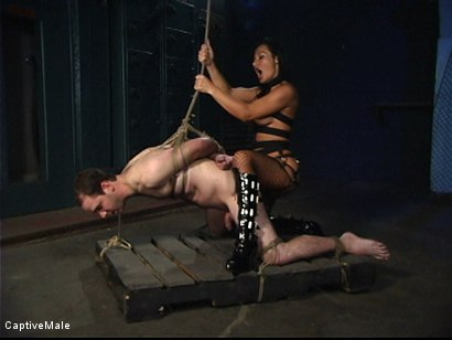 Photo number 13 from Sandra Romain's Captive Cargo Submits to Inspections shot for Captive Male on Kink.com. Featuring Oscar Beyer and Sandra Romain in hardcore BDSM & Fetish porn.