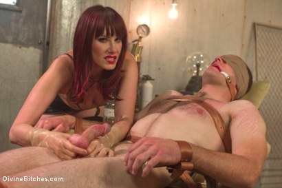 Photo number 1 from FemDom Sperm Thief shot for Divine Bitches on Kink.com. Featuring Maitresse Madeline Marlowe  and Jonah Marx in hardcore BDSM & Fetish porn.
