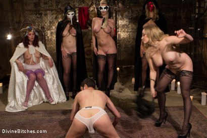 Photo number 13 from The Secret Femdom Society: Territorial Pissings shot for Divine Bitches on Kink.com. Featuring Bella Rossi, Jay West, Cherry Torn, Amanda Tate, Aiden Starr and Maitresse Madeline Marlowe in hardcore BDSM & Fetish porn.