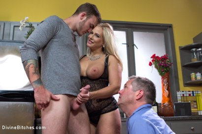 Photo number 12 from Cuckold my husband with his adopted son! shot for Divine Bitches on Kink.com. Featuring Angel Allwood, Christian Wilde and Jimmy Broadway in hardcore BDSM & Fetish porn.
