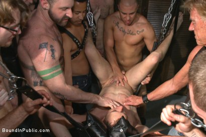 Photo number 2 from Giant cock whored out to the horny public shot for Bound in Public on Kink.com. Featuring Aleks Buldocek, Kirk Cummings and Dominic Pacifico in hardcore BDSM & Fetish porn.