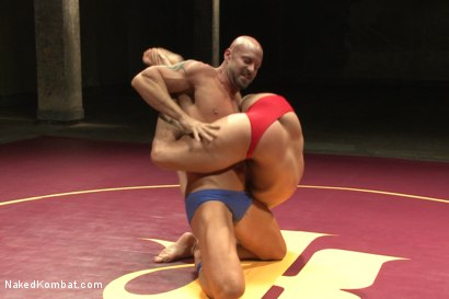 """Photo number 2 from Eli """"The Hammer"""" Hunter vs Mitch """"The Machine"""" Vaughn shot for Naked Kombat on Kink.com. Featuring Eli Hunter and Mitch Vaughn in hardcore BDSM & Fetish porn."""