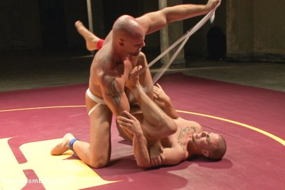"""Photo number 5 from Eli """"The Hammer"""" Hunter vs Mitch """"The Machine"""" Vaughn shot for Naked Kombat on Kink.com. Featuring Eli Hunter and Mitch Vaughn in hardcore BDSM & Fetish porn."""