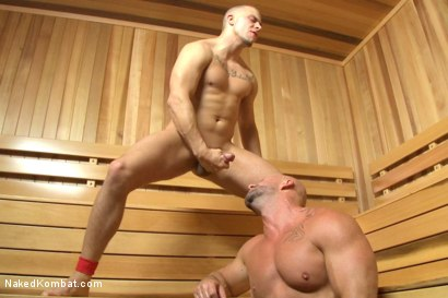 """Photo number 14 from Eli """"The Hammer"""" Hunter vs Mitch """"The Machine"""" Vaughn shot for Naked Kombat on Kink.com. Featuring Eli Hunter and Mitch Vaughn in hardcore BDSM & Fetish porn."""