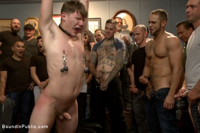 Photo number 9 from Bound whore gang fucked like an animal in a packed bar shot for Bound in Public on Kink.com. Featuring Dakota Wolfe and Brock Avery in hardcore BDSM & Fetish porn.