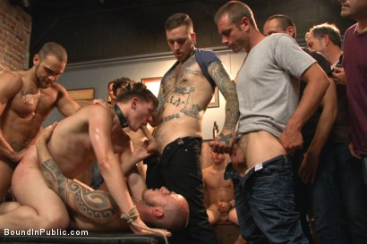 Photo number 6 from Bound whore gang fucked like an animal in a packed bar shot for Bound in Public on Kink.com. Featuring Dakota Wolfe and Brock Avery in hardcore BDSM & Fetish porn.