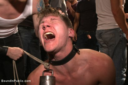 Photo number 2 from Bound whore gang fucked like an animal in a packed bar shot for Bound in Public on Kink.com. Featuring Dakota Wolfe and Brock Avery in hardcore BDSM & Fetish porn.