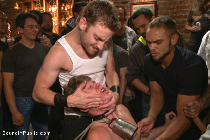 Photo number 7 from Bound whore gang fucked like an animal in a packed bar shot for Bound in Public on Kink.com. Featuring Dakota Wolfe and Brock Avery in hardcore BDSM & Fetish porn.