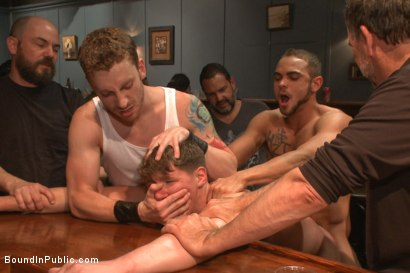 Photo number 7 from Foot sucking whore humiliated & gang fucked in a bar full of horny men shot for Bound in Public on Kink.com. Featuring Dakota Wolfe and Brock Avery in hardcore BDSM & Fetish porn.