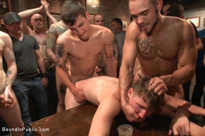 Photo number 4 from Foot sucking whore humiliated & gang fucked in a bar full of horny men shot for Bound in Public on Kink.com. Featuring Dakota Wolfe and Brock Avery in hardcore BDSM & Fetish porn.