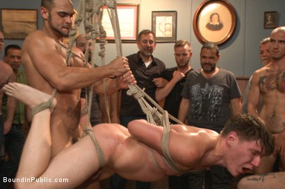 Photo number 11 from Foot sucking whore humiliated & gang fucked in a bar full of horny men shot for Bound in Public on Kink.com. Featuring Dakota Wolfe and Brock Avery in hardcore BDSM & Fetish porn.