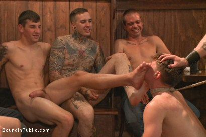 Photo number 2 from Foot sucking whore humiliated & gang fucked in a bar full of horny men shot for Bound in Public on Kink.com. Featuring Dakota Wolfe and Brock Avery in hardcore BDSM & Fetish porn.